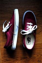 shoes,burgundy,wine,vans,sneakers,cute