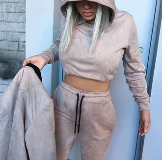 sweater two-piece fashion tracksuit nude camel faux suede co ord