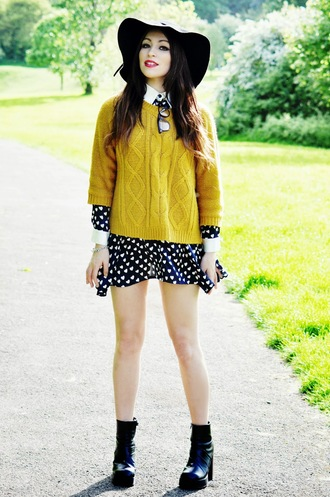 moon magik shirt dress hat sweater shoes mustard sweater