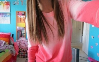 baby pink long sleeves tumblr outfit