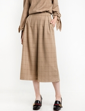 pants,brown plaid check crop culottes,crop pants,plaid pants,brown pants,culottes,plaid,office outfits,business casual