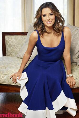 dress eva longoria blue blue dress midi dress asymmetrical dress