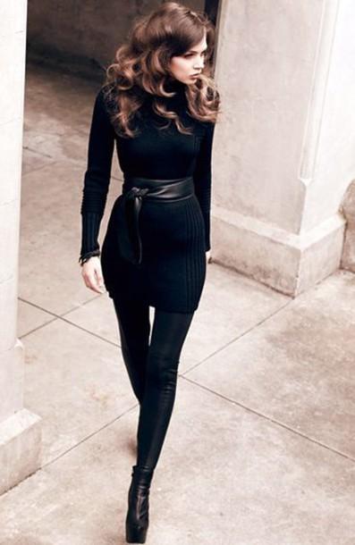 dress black sweater ribbed waist cinch belt leather faux leggings stripes scuba
