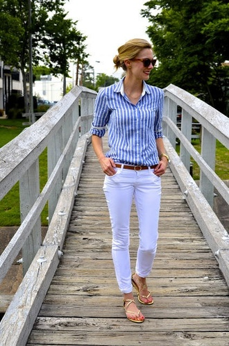 shirt vertical stipes vertical stripe stripes button up blouse button up shoes sandals flat sandals gold sandals gold low heel sandals pants blue pants blue shirt striped shirt belt brown belt sunglasses spring outfits