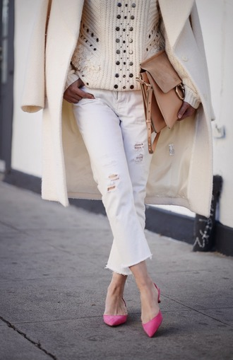 jeans cropped bootcut white jeans cropped jeans white jeans white ripped jeans cropped bootcut jeans pumps pink pumps mid heel pumps bag camel bag chloe bag chloe chloe faye bag cropped bootcut ripped jeans