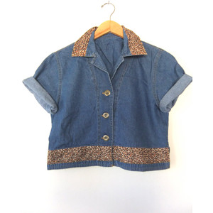 90s Leopard Collar Denim Crop Top - Grunge Womens Boxy Short... - Polyvore