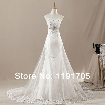 com : Buy Freeshipping Elegant Strapless Handmade White wedding ...