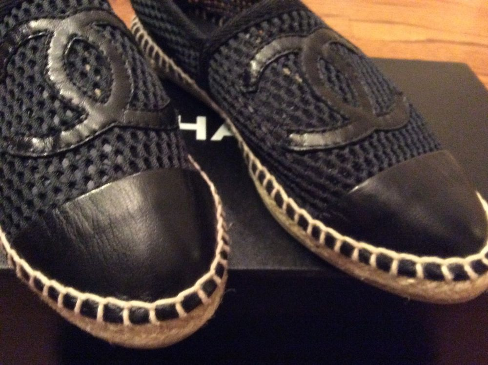 Authentic RARE Chanel 13S Black Mesh Leather Single Sole CC Espadrilles 35 5