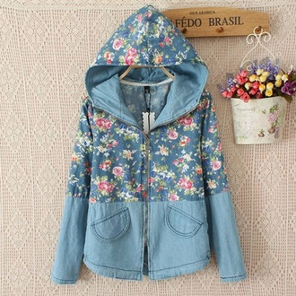 jacket floral flowers denim denim jacket vintage vintage denim boho indie blue light blue dark blue hood hoodie top chic acacia brinley hipster pink pink jacket rain coat coat denim coat vintage coat store envy floral hoodie hippie chic winter coat denim jacket vintage coat old school storenvy spring jacket