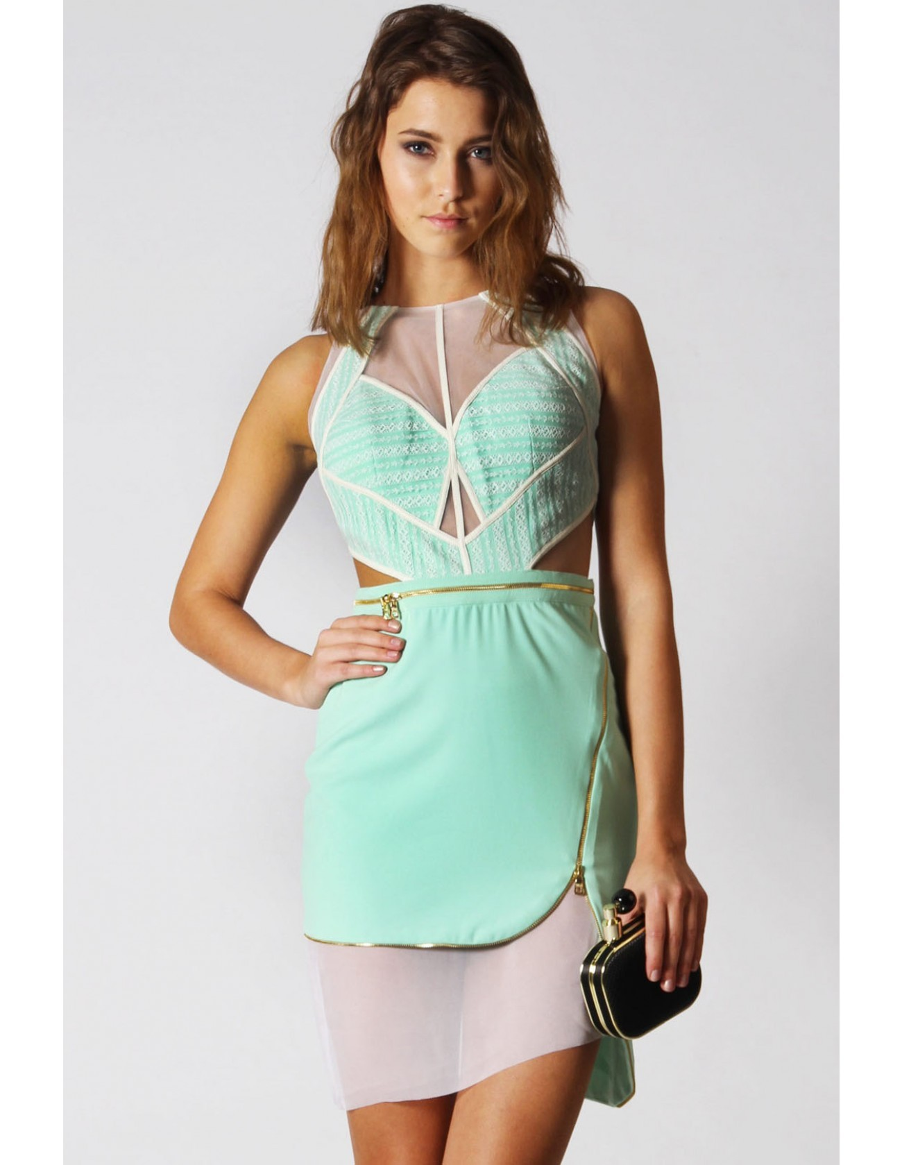 Areca Cut Out Mint Lace Dress