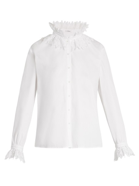 blouse lace cotton white top