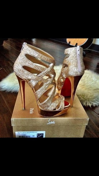 shoes heels gold