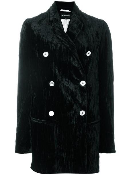 ANN DEMEULEMEESTER coat pleated women black silk