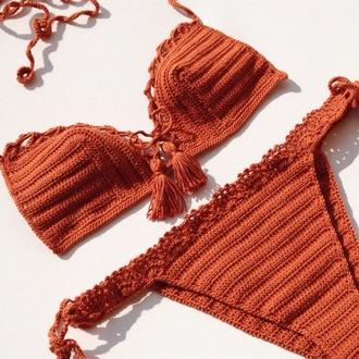 swimwear tan 2015 festival trends bikini crochet bikini crochet swimsuits swimwear burnt orange mustard beach wear fashion 2015 summer 2015 swimwear style pool festival stagecoach music festival accessory