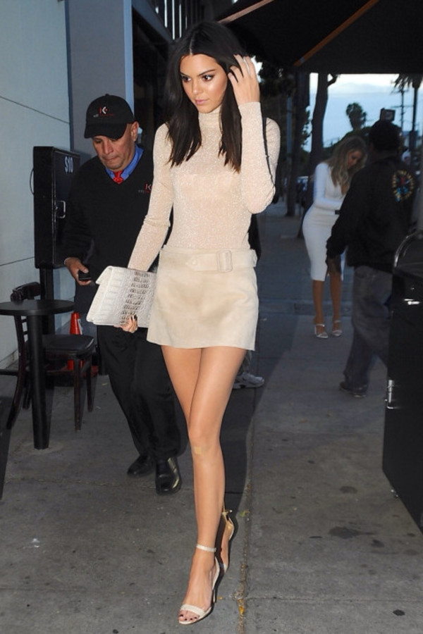 skirt, top, turtleneck, nude, sandals, kendall jenner ...