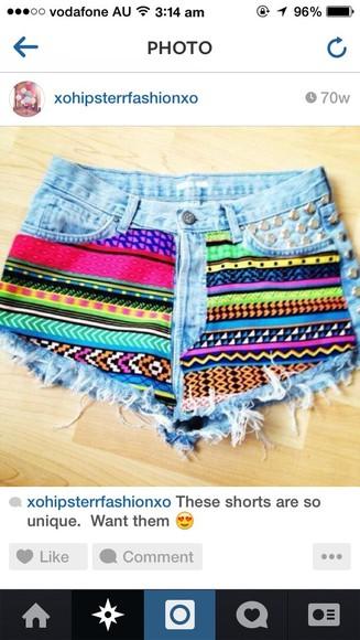 rainbow denim denim shorts cute