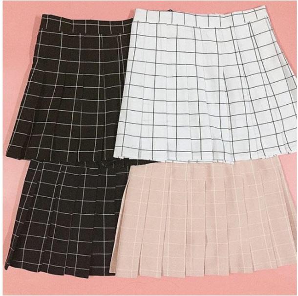 skirt girly black black and white plaid checkered checkered skirt