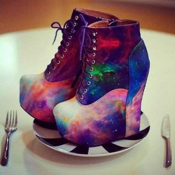 shoes wedge wedges galaxy colour colourful galaxy print