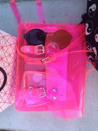bag pink see through clear plastic neon transparent  bag satchel neon pink purse clear purse transparent soft grunge bag