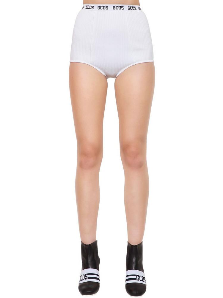 GCDS Logo Band Viscose Knit Mini Shorts in white