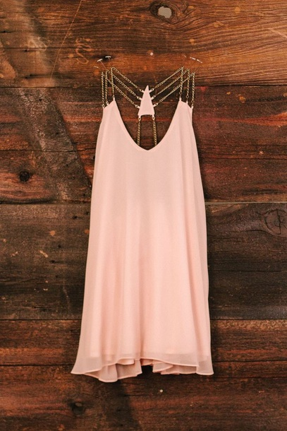 dress gold chain peach sheer