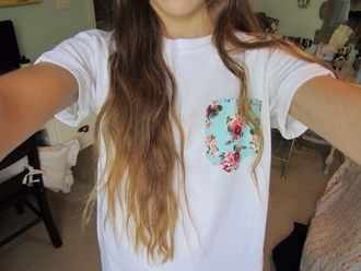 shirt pocket t-shirt white floral t-shirt flowers blue pink tshirt white floral shirt pockets cute roses lovely fashion style urban outfitters urban floral pocket t-shirt