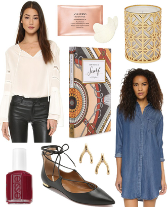 with love from kat blogger home accessory candle notebook strappy flats gold earrings