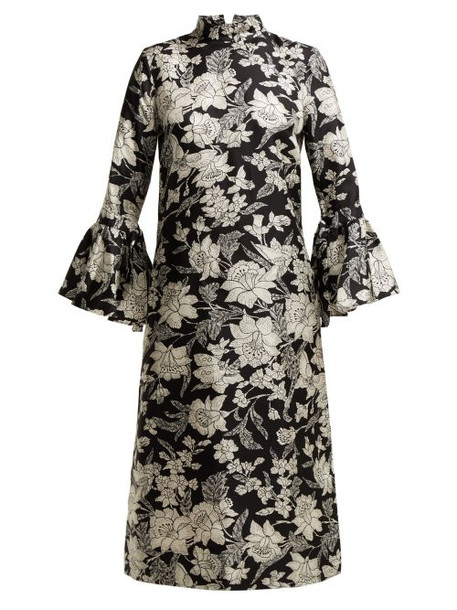 dress silk dress print black silk