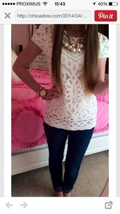 blouse,t-shirt,kant,white,girly