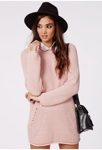 Ashlie knitted sweater dress pink