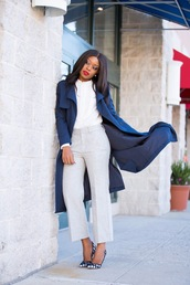 jadore-fashion,blogger,pants,blouse,jacket,shoes,high heel pumps,pumps,blue coat,white blouse