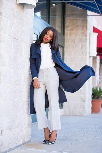 jadore-fashion blogger pants blouse jacket shoes high heel pumps pumps blue coat white blouse