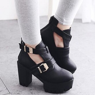 shoes boots heels booties shoes ankle boots booties double buckle leather leather shoes winter boots thick heel