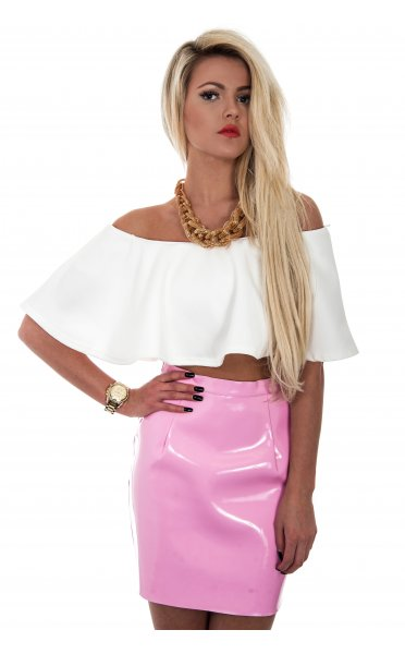 Vinyl Mini Skirt In Pink - from The Fashion Bible UK