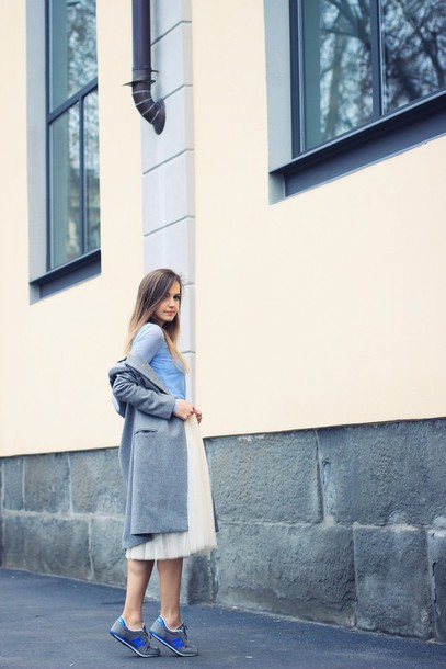 fashion quite blogger long coat grey coat nike sneakers tulle skirt light blue skirt jewels coat shoes
