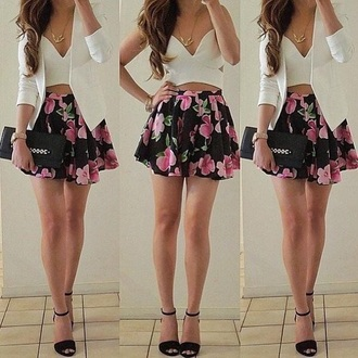 dress white crop tops v neck dress floral dress skirt fashion style