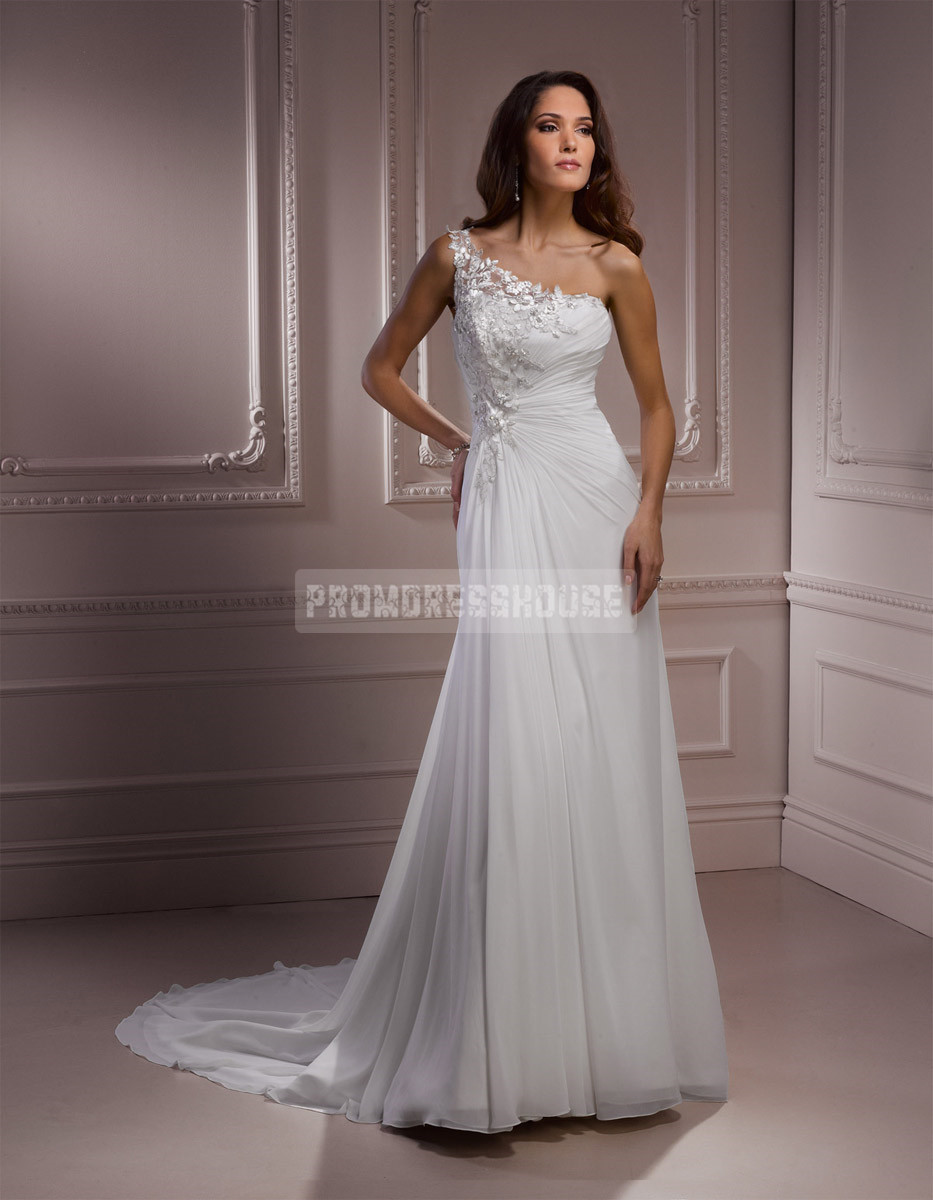 Line one shoulder trendy court train wedding dress
