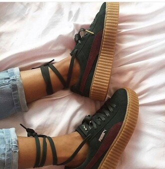 shoes green red girly girl girly wishlist rih puma creepers puma creepers rihanna pumas tumblr