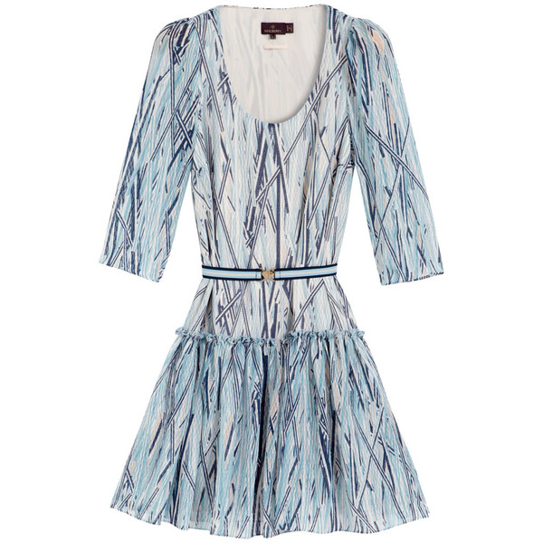Belted Neely Dress Blue Stripy Straw Silk - Mulberry - Polyvore