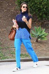 sweater,alessandra ambrosio,pants,turtleneck,fall outfits,blue