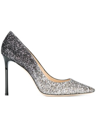 women 100 pumps leather grey metallic shoes