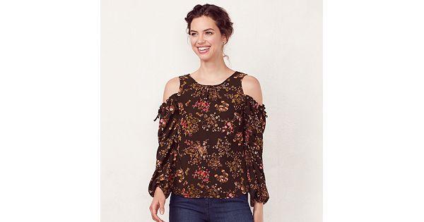 f601e359310736 Women s LC Lauren Conrad Print Cold-Shoulder Top
