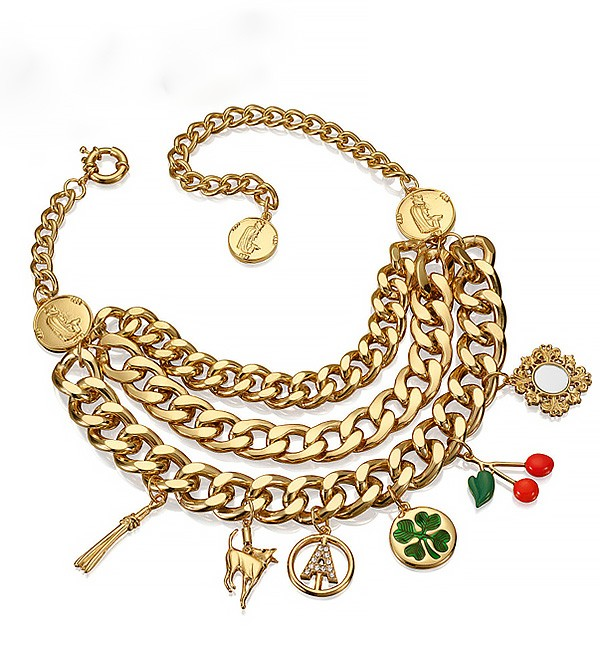 Multi Chain Necklace With Drop Trinkets