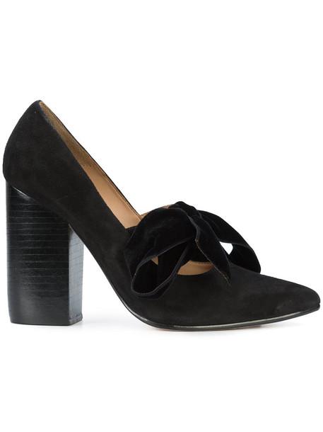 Ulla Johnson bow women pumps leather suede black shoes