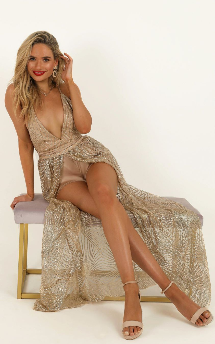 Showpo Love When You Can Playsuit in gold glitter - 6 (XS) Maxi