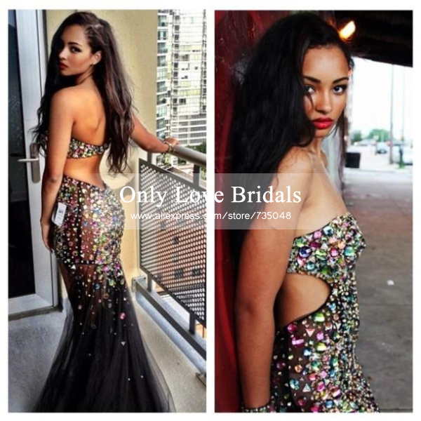 Aliexpress.com : buy vestido de festa amazing sweetheart backless colorful crystal sequined see through black tulle mermaid prom/evening dresses from reliable evening dresses suppliers on only love bridals