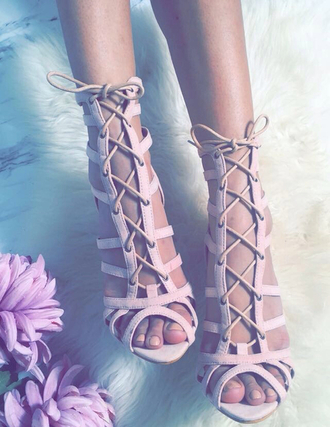 shoes pink strappy strappy sandals lace-up shoes pink shoes dusty pink light pink