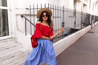 the fashion fraction blogger top skirt bag shoes sunglasses hat straw hat red bag red top midi skirt blue skirt spring outfits