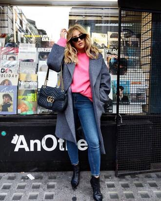 coat tumblr grey coat waterfall coat denim jeans blue jeans sweater knit knitwear pink sweater boots black boots ankle boots sunglasses bag