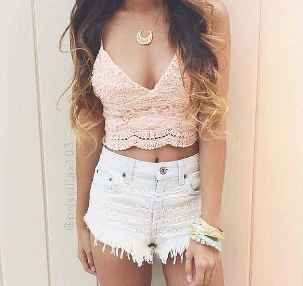 top peach pink lace embroidered casual crop tops embrodering crop tops summer shirt shorts